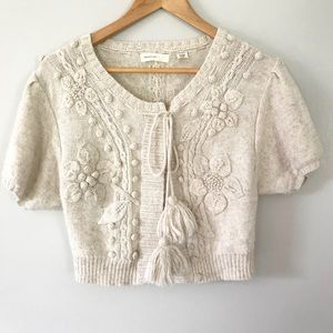 Anthropologie Sleeping On Snow Cropped Cardigan